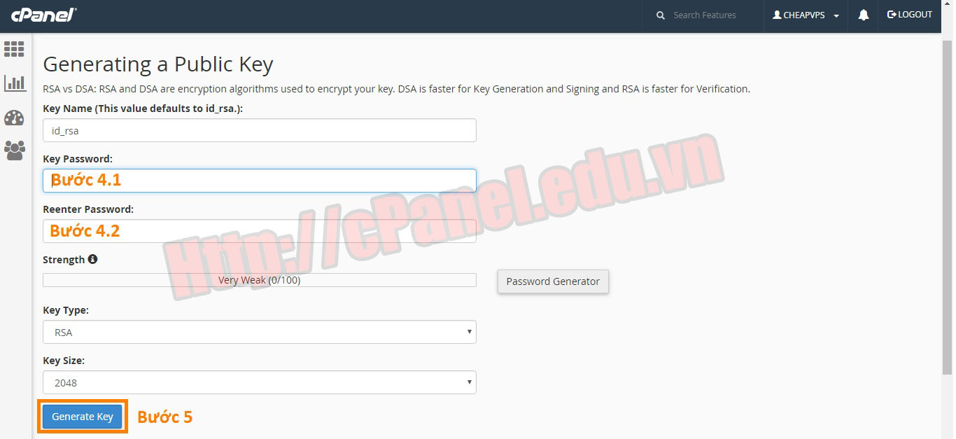 Tạo SSH key trong cPanel
