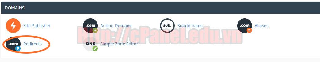 Truy cập Redirects trên host cPanel