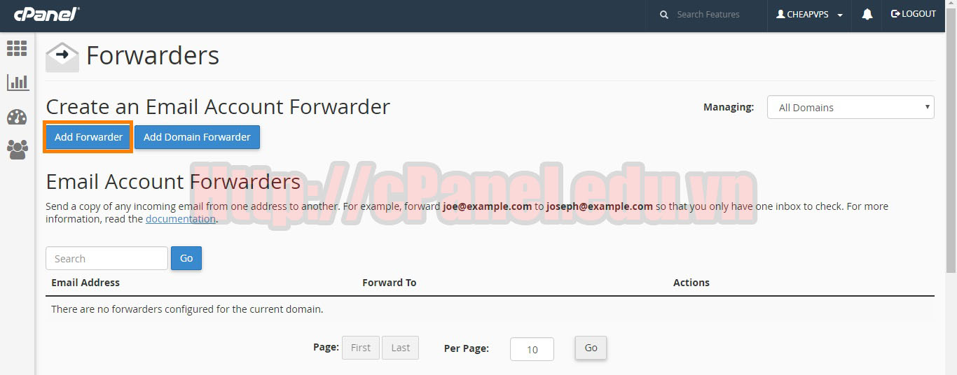 Mail Forwarders trong cPanel 1