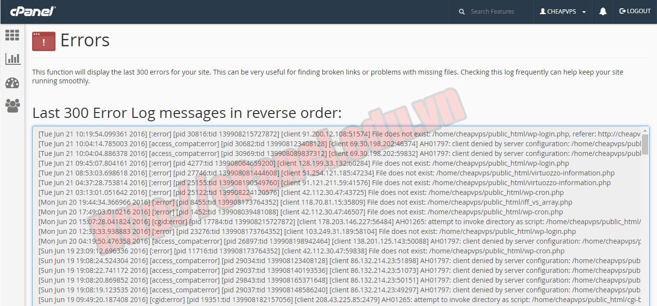 Giao diện tính năng Errors Log trong cPanel