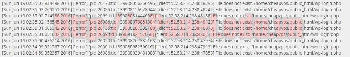 Một lỗi được hiển thị ở Errors Log trong cPanel