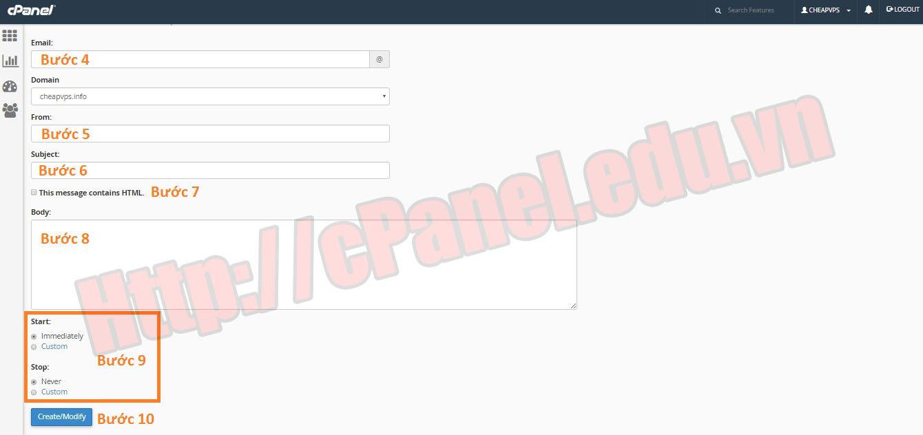 Cấu hình Autoresponders trong cPanel H2