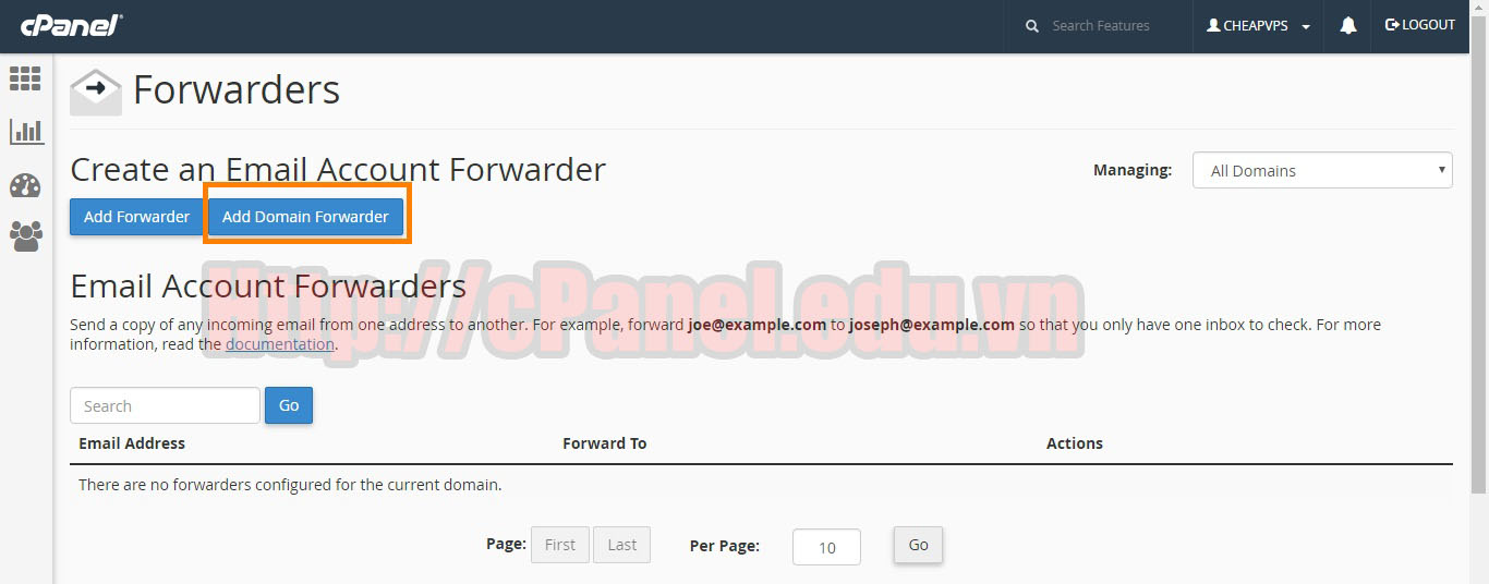 Add Domain Forwarders trong cPanel