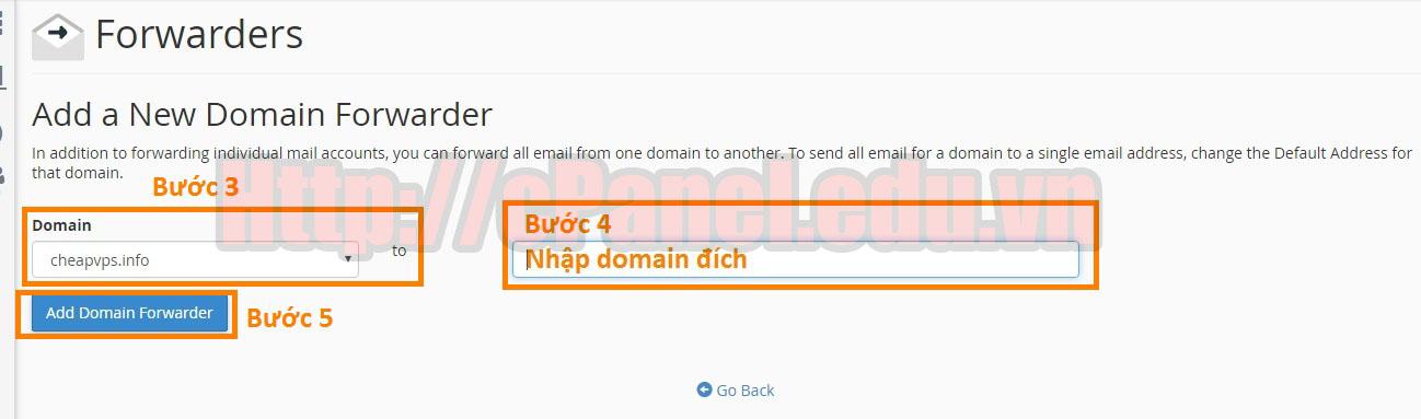 Thiết lập cấu hình Email domain forwarder