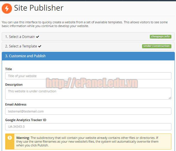 Điền thông tin và xuất bản trang web tĩnh trong cPanel