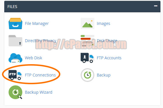 Truy cập vào FTP Conection trong cPanel