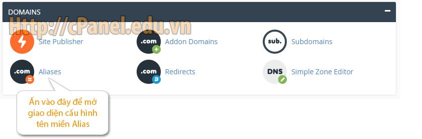 Mở giao diện cấu hình Alias Domain trong host cPanel