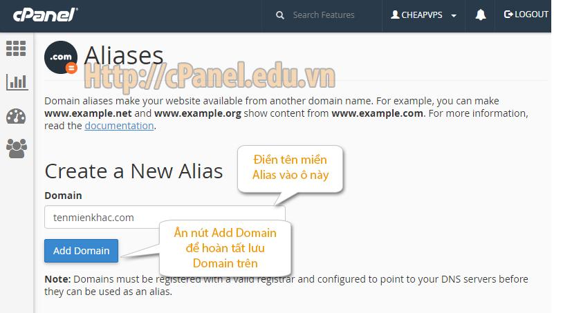 Giao diện thêm tên miền Alias trong host Cpanel