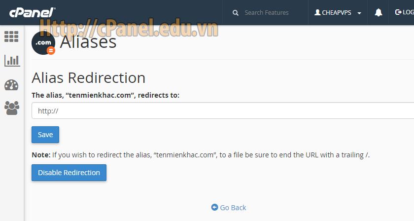 Giao diện thiết lập chuyển hướng Domain Alias trong cPanel