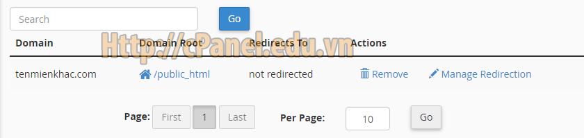 Tìm kiếm Domain Alias trong host cPanel