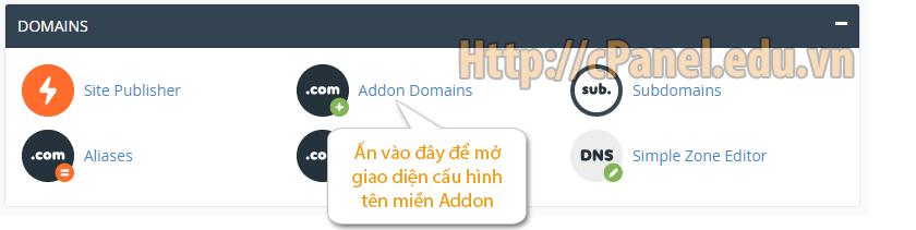 Thêm một Addon domain trong cPanel hosting