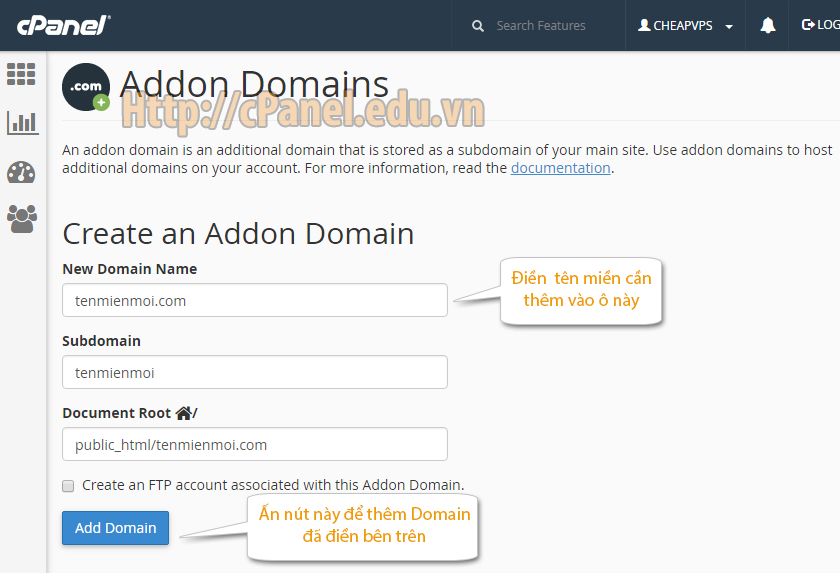 Giao diện Addon Domain trong cPanel hosting