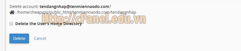 Xác nhận xóa tài khoản FTP trên cPanel hosintg