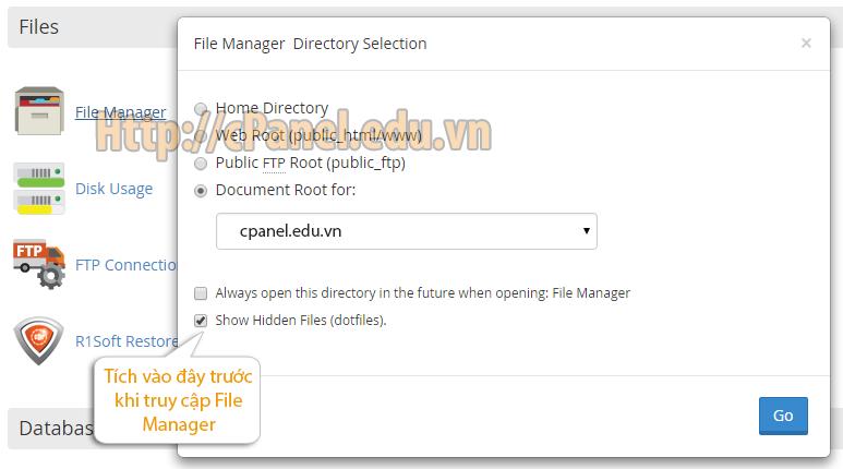 Hướng dẫn hiển thị file .htacess và .htpw trên host cPanel