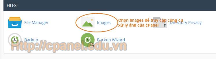 Truy cập giao diện xử lý ảnh trong cPanel hosting
