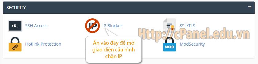 Truy cập giao diện cấu hình chặn IP trong host cPanel