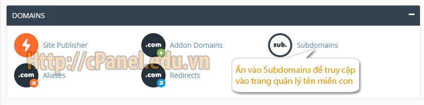 Truy cập quản lý Subdomain trong host cPanel