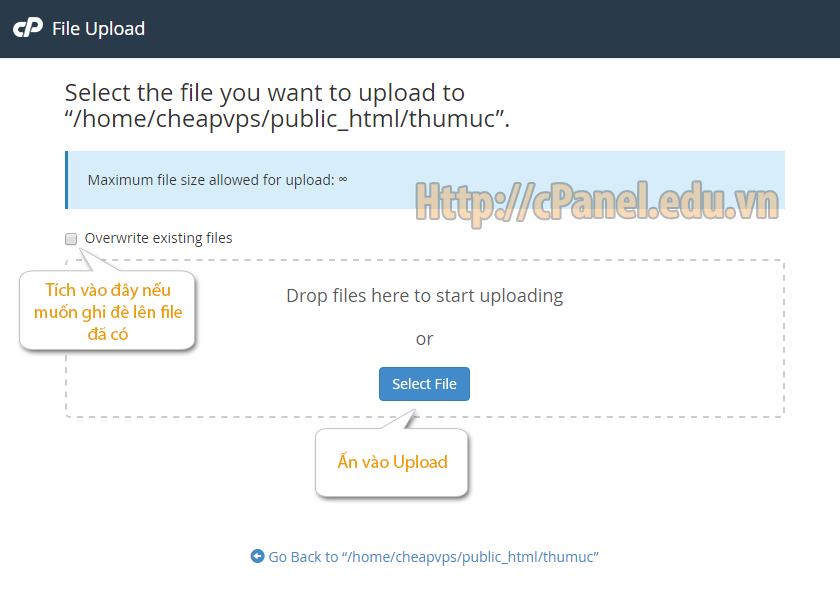 Giao diện Upload file trong cPanelGiao diện Upload file trong cPanel