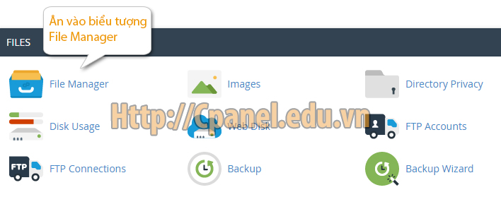 Mở quản lý file Manager trong Cpanel