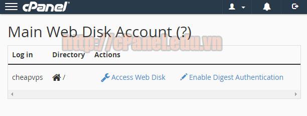 Tạo một tài khoản Wendisk Account trong host cPanel