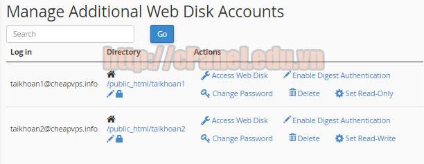 Quản lý tài khoản Web Disk trong host cPanel