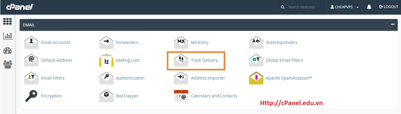 Truy cập Track Delivery trong cPanel