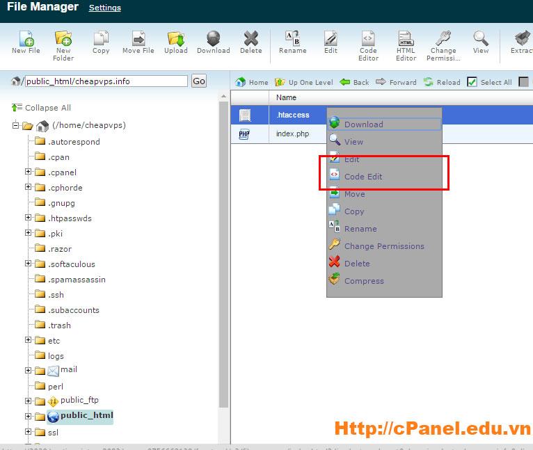 Sửa file .htaccess trong cPanel