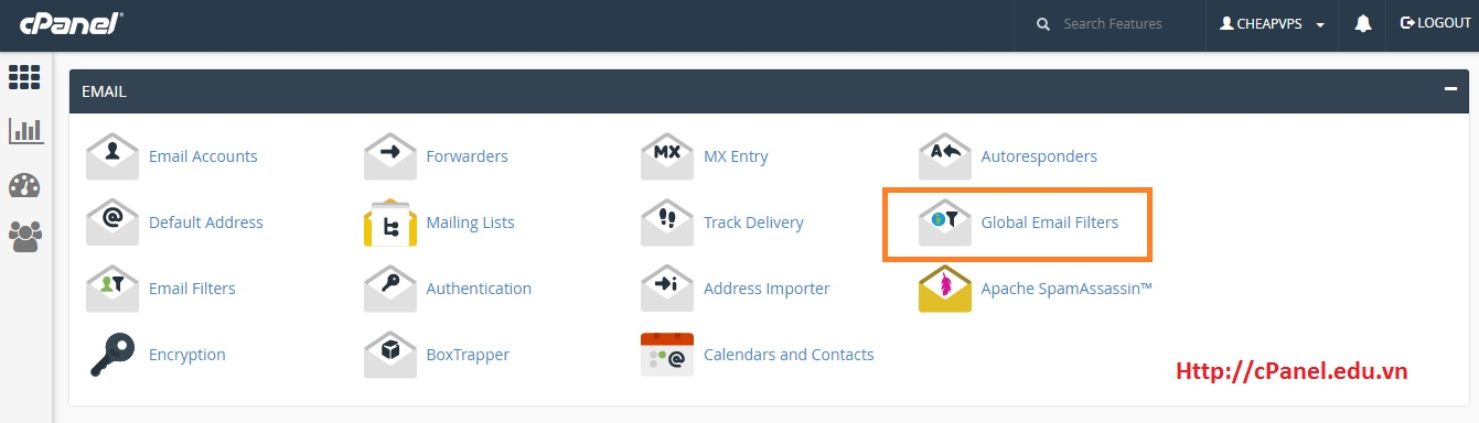 Truy cập Global Email Filter - cPanel