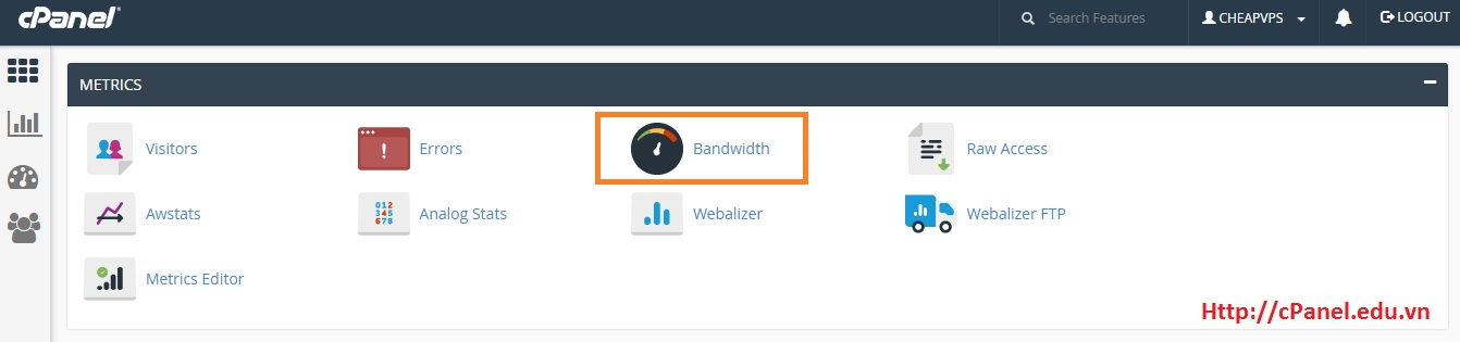 Truy cập Bandwidth trong cPanel