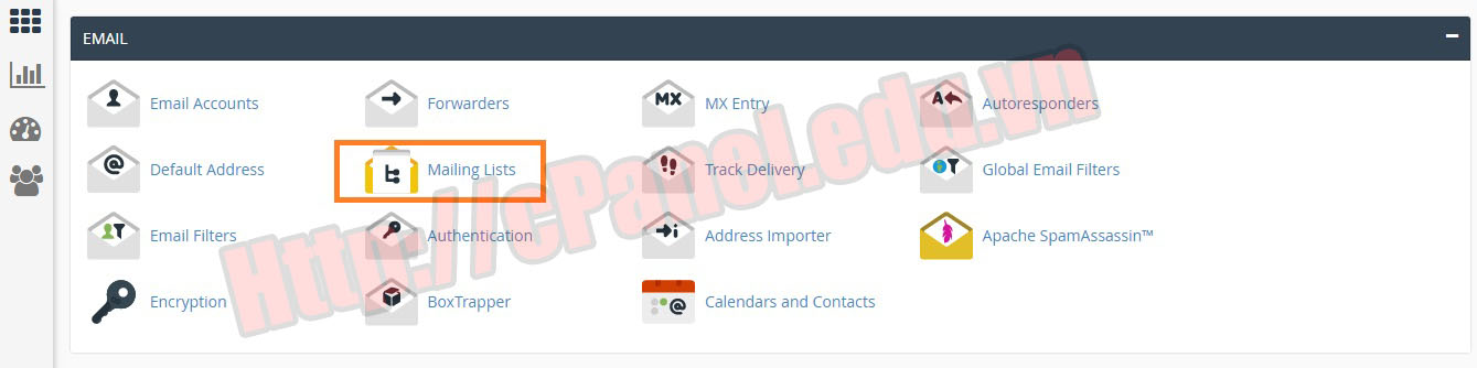 Truy cập Mailing Lists trong cPanel