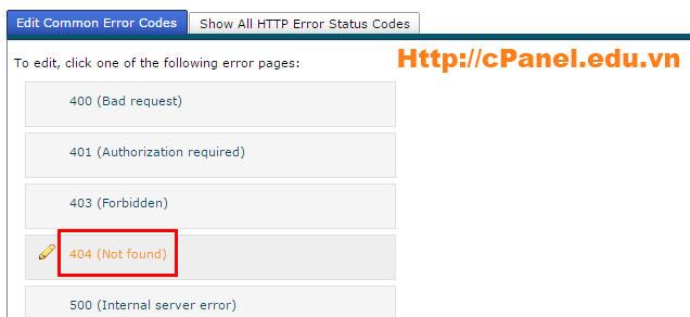 Truy cập trang quảng lý trang lỗi trong cPanel