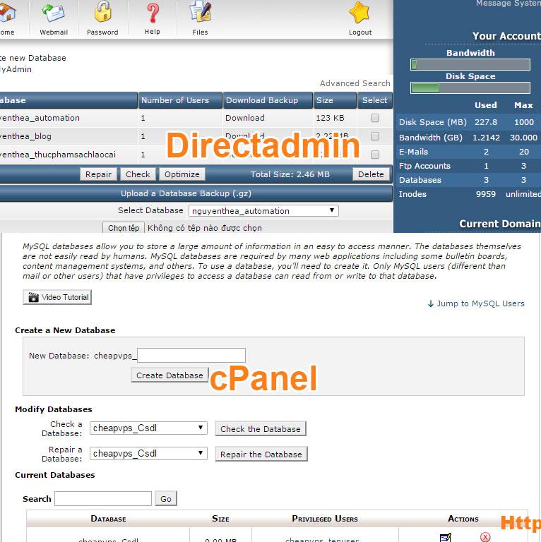 Quản trị dữ liệu giữa host cPanel và host Direct admin
