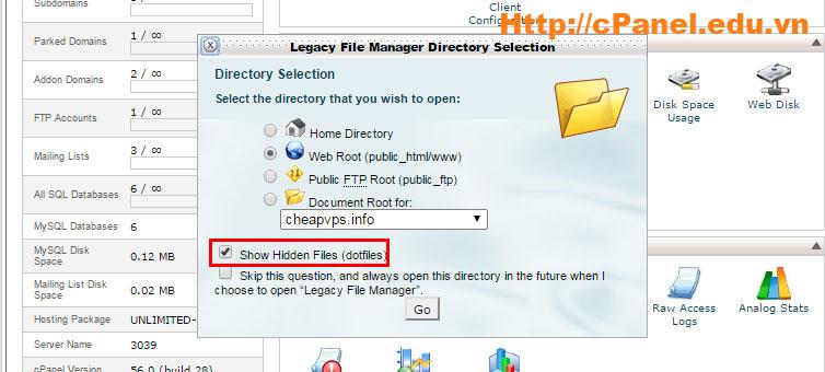 Bước 2: Nhớ chọn Show Hidden File