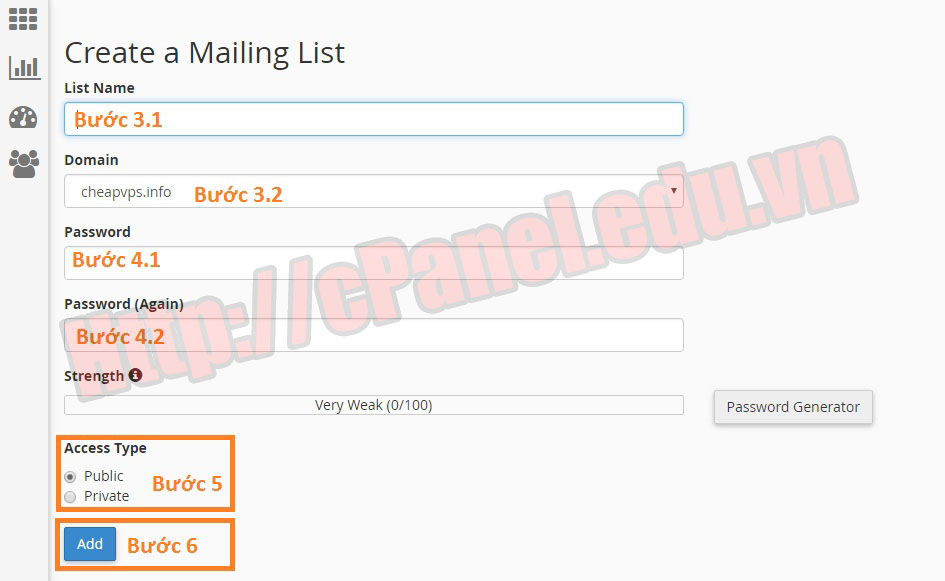 Tạo Mailing Lists trong cPanel