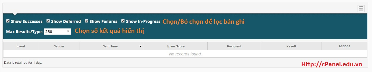 Lọc bản ghi trong Track Delivery - cPanel