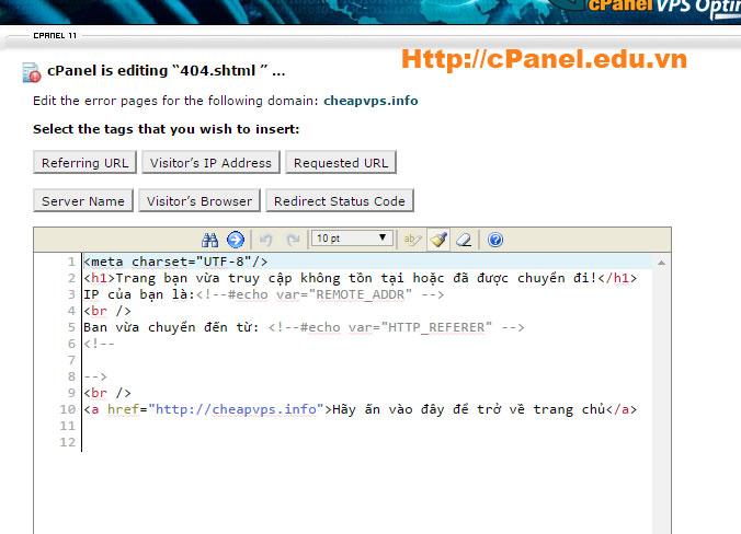 Viết thông báo lỗi 404 trong cPanel