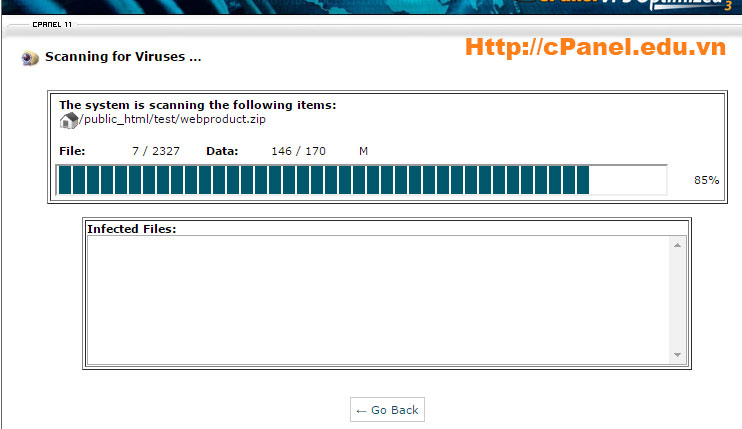 Trình diệt virut trên cPanel đang chạy