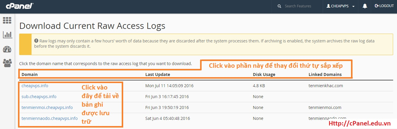 Currents Raw Access Logs trong cPanel
