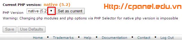 Ấn vào đây để chuyển qua chọn phiên bản PHP khác