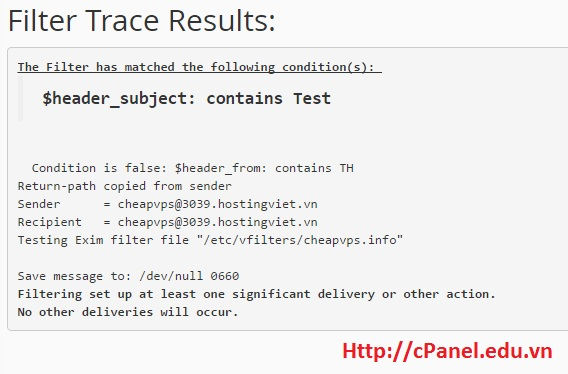 Filter Trace Results trong Email Filter - cPanel
