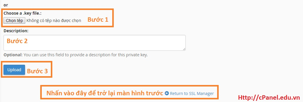 Upload key trong SSL/STL - cPanel