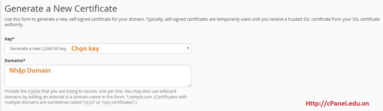 Sinh mã CRT trong SSL/TLS - cPanel