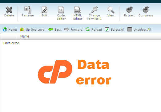 Vấn đề Data Error trong File manager cPanel