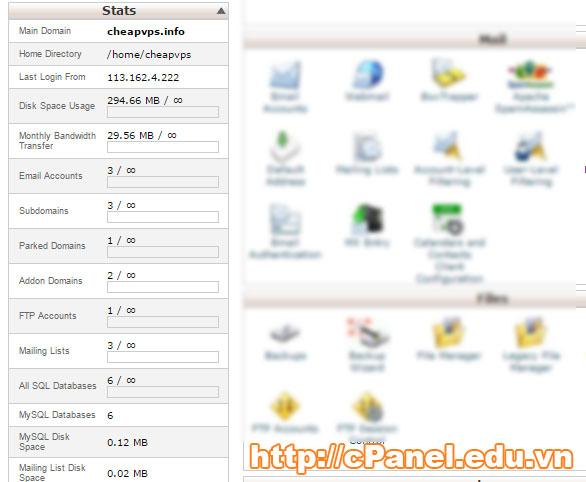 Các thông số cơ bản trong  một gói host cPanel