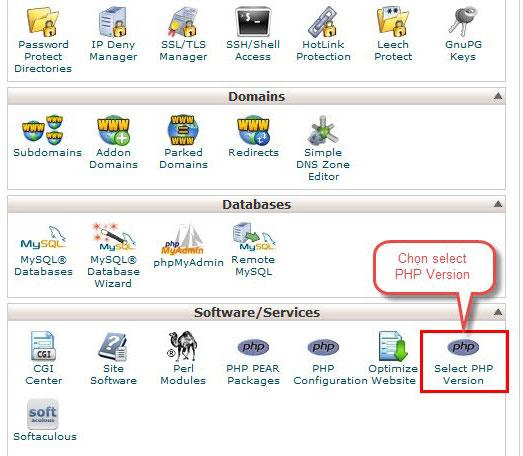 Bước 1: Truy cập cPanel, click mục Select PHP Version