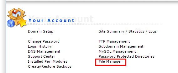 Truy cập file manager trong host direct admin