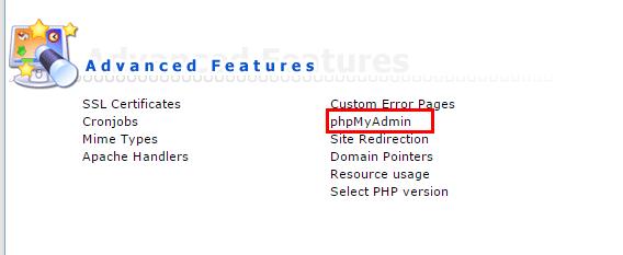 Truy cập phpMyadmin trong Direct admin