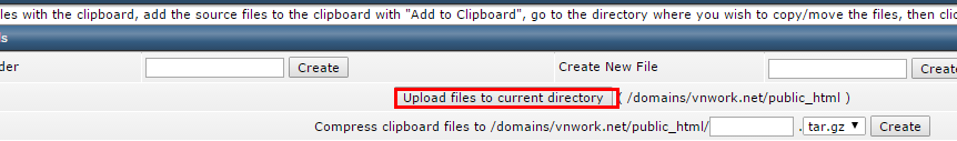 Upload file trong Direct admin